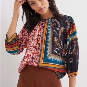 Anthropologie Prudence Embroidered Blouse Large